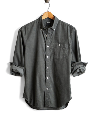 Micro Corduroy Button-down Shirt in Sage