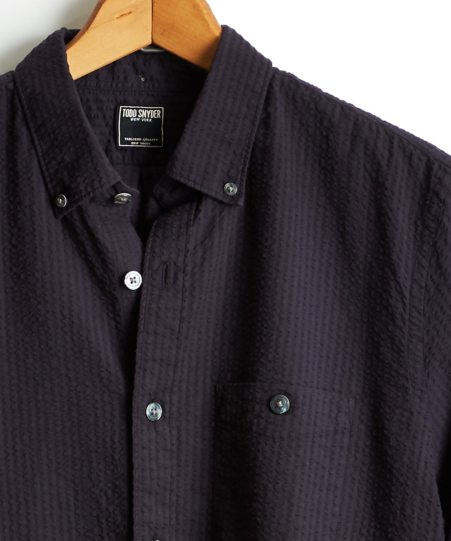 Garment Dyed Button Down Seersucker Shirt in Black