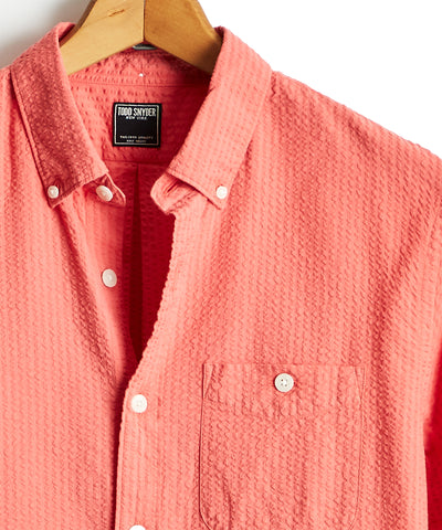 Garment Dyed Button Down Seersucker Shirt in Faded Red