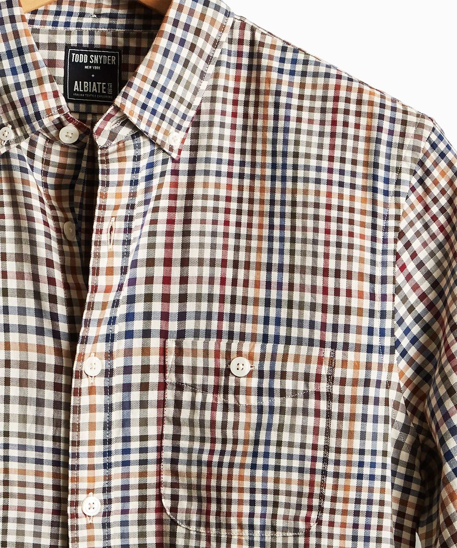 Italian Tattersall Button Down in Tan