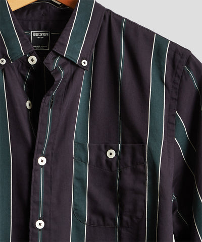Button Down Bold Stripe Shirt in Green