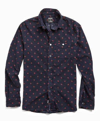 Italian Micro Cord Medallion Shirt in Navy