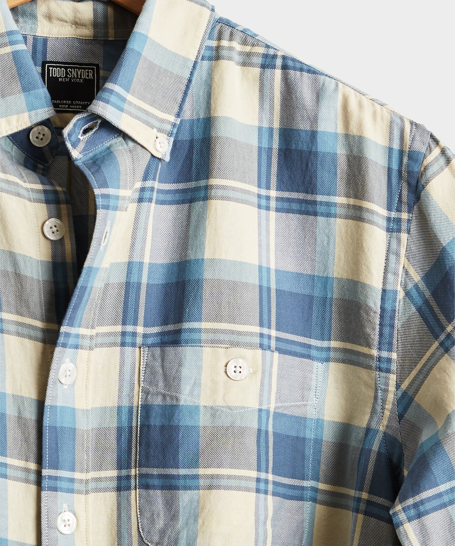Blue and Cream Plaid Flannel Shirt