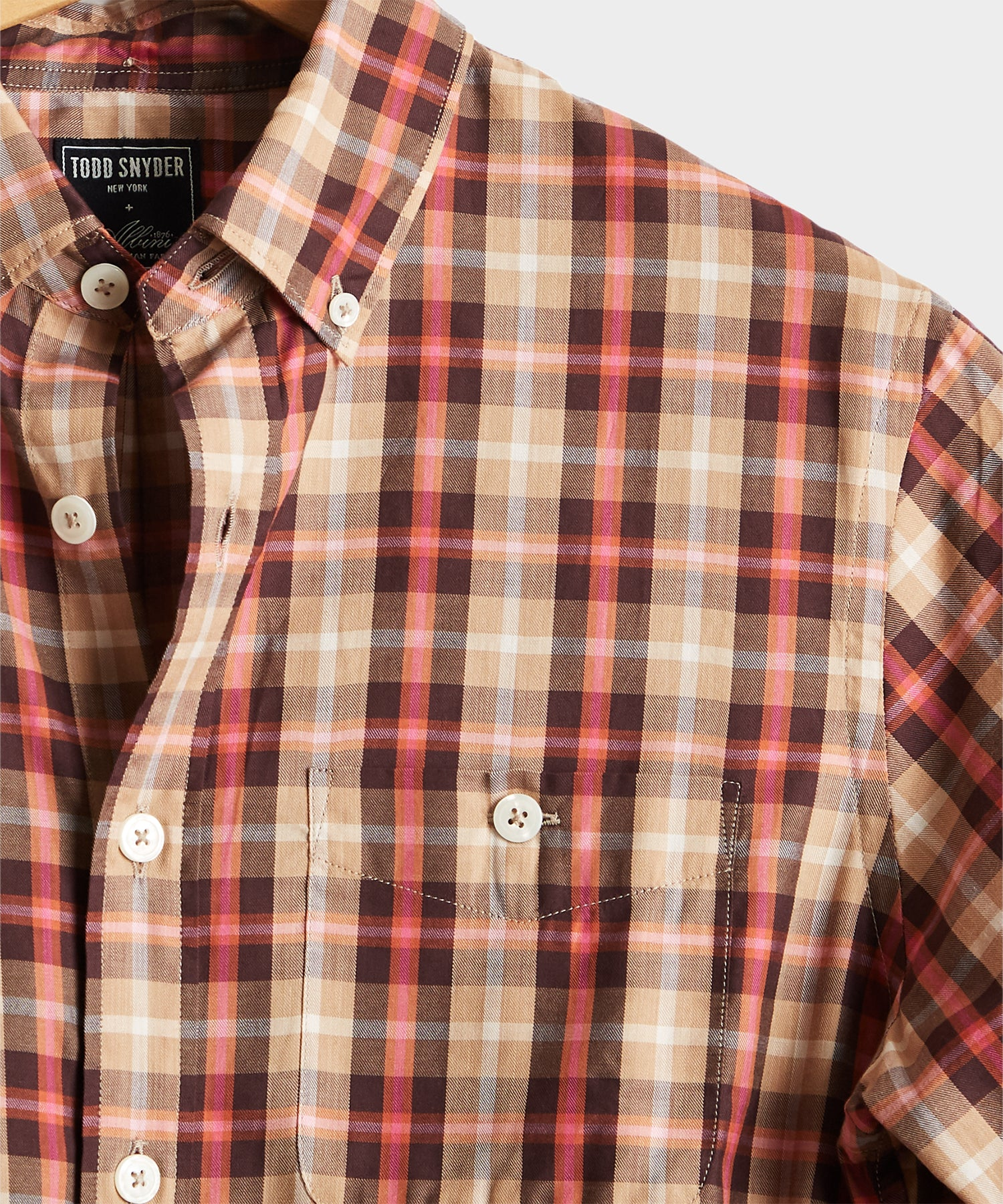 Italian Pink Plaid Button Down Shirt