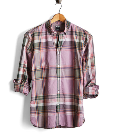 Lightweight Button Down Purple Madras Shirt