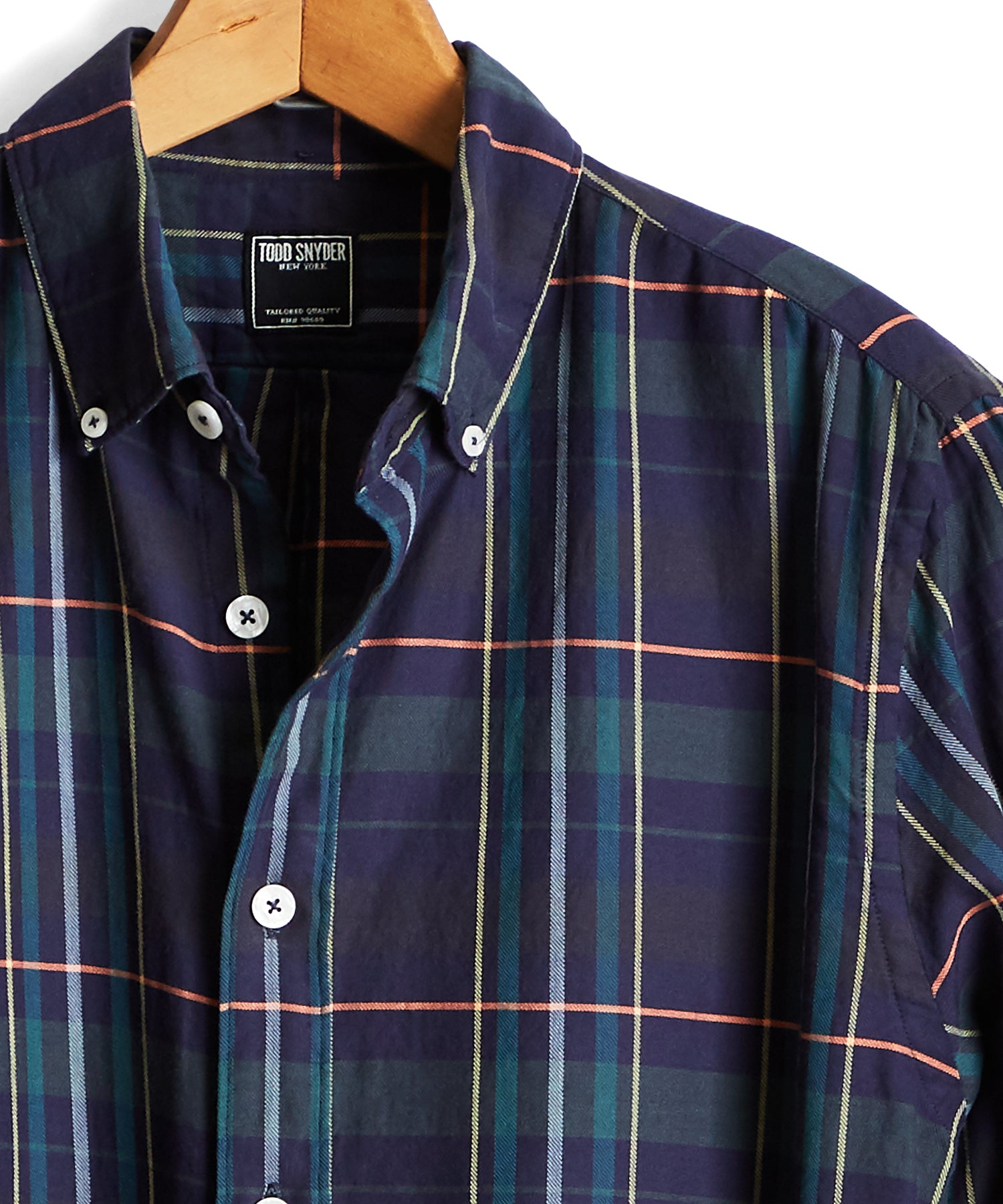 Lightweight Button Down Navy Madras Shirt