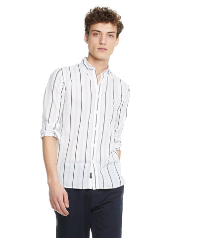 Lightweight Button Down White Stripe Shirt
