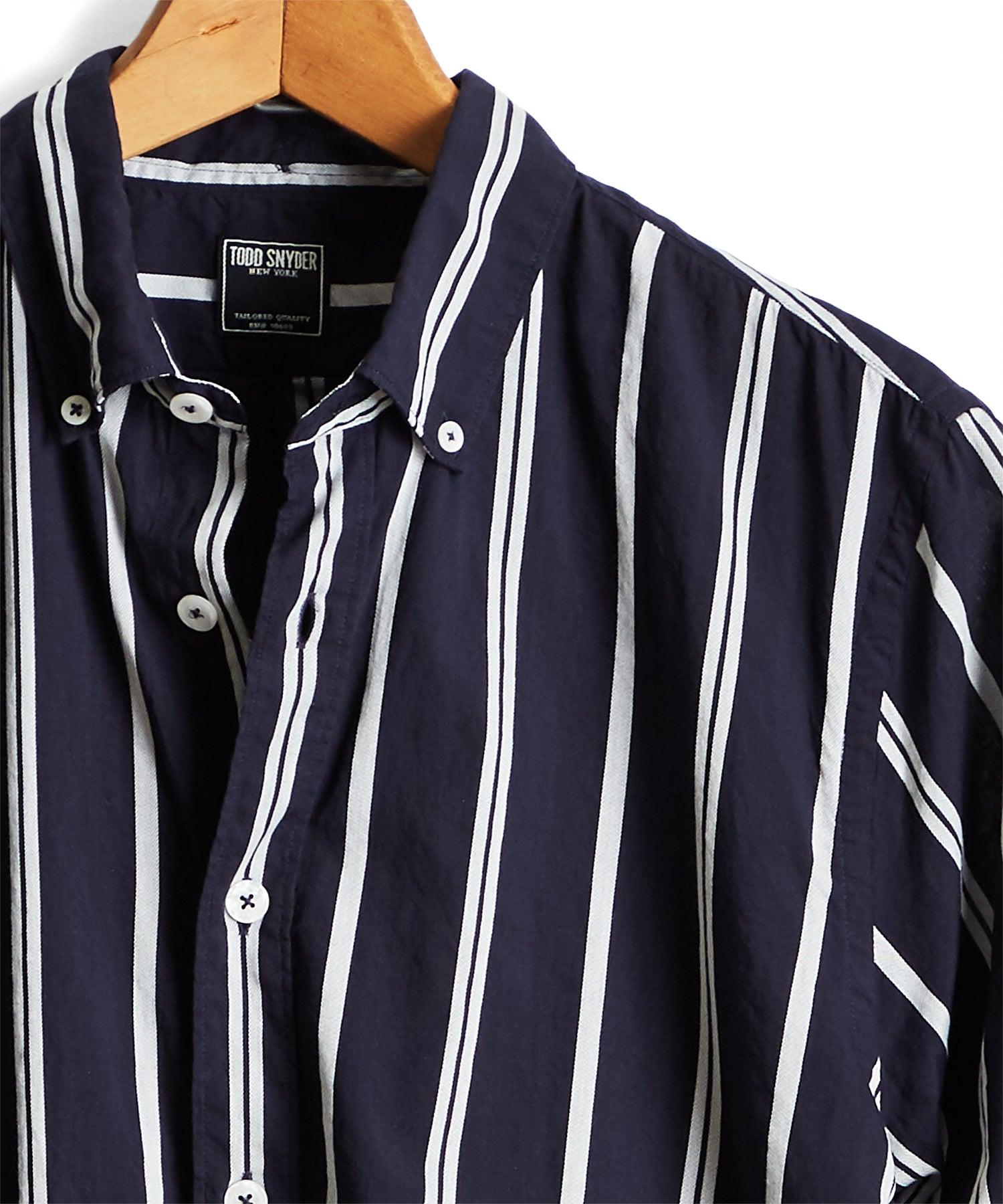 Lightweight Button Down Navy Stripe Shirt