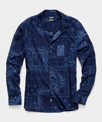 Italian Indigo Bandana Print Camp Collar Shirt in Navy