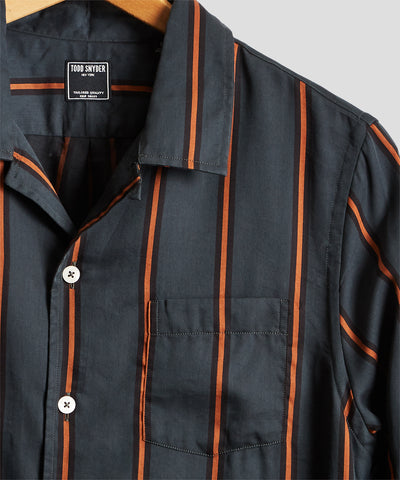 Long Sleeve Camp Collar Shirt in Orange/Green Stripe