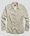 Long Sleeve Camp Collar Shirt in Cream Tile Print