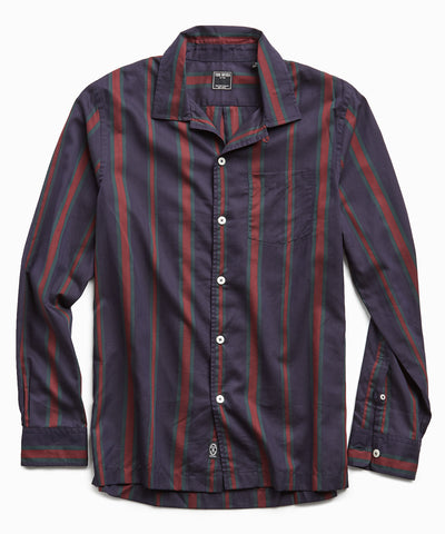 Camp Collar Red/Green Stripe Long Sleeve Shirt