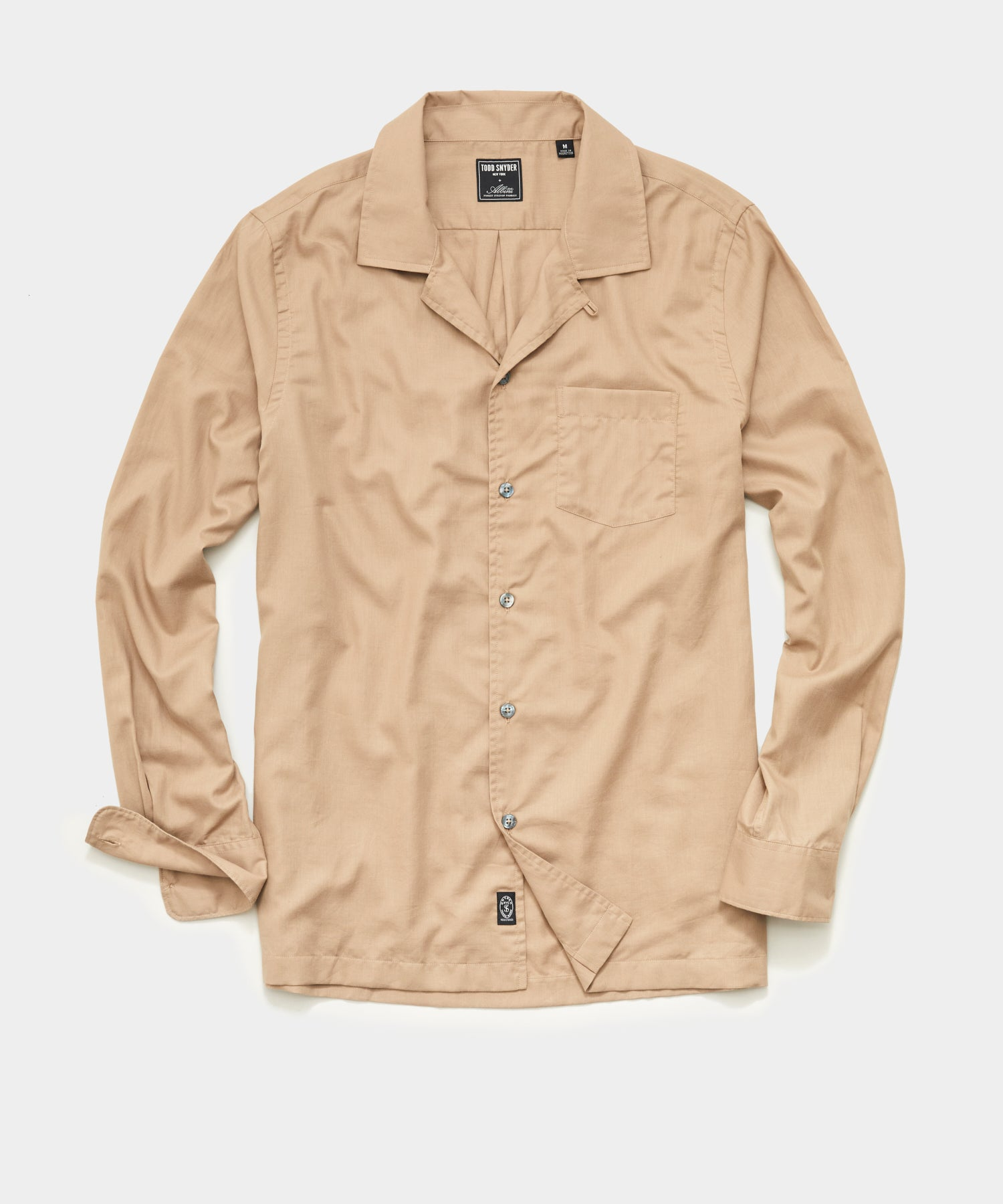 Italian Twill Camp Collar Shirt in Khaki