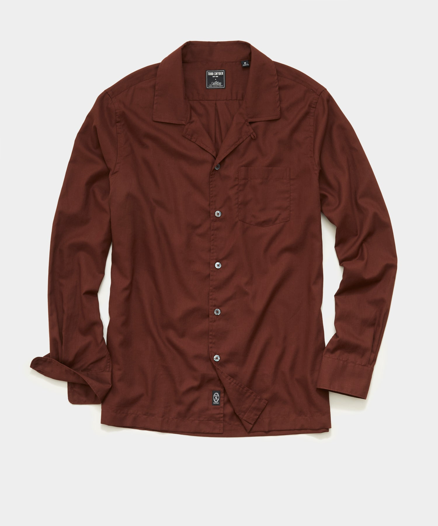 Italian Twill Camp Collar Shirt in Rustic Red