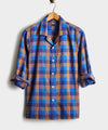 Camp Collar Long Sleeve Shirt in Chestnut Blue Plaid