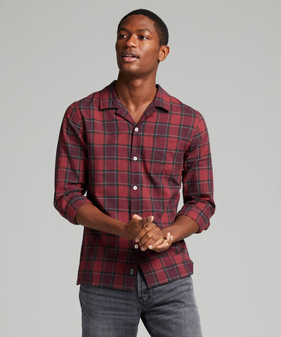 Camp Collar Long Sleeve Shirt in Red Plaid
