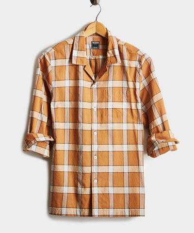 Vintage Plaid Camp Collar Long Sleeve Shirt in Gold