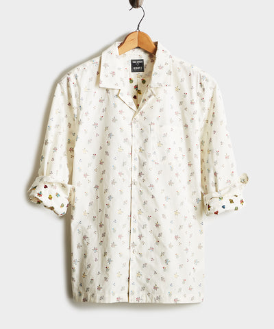 Embroidered Floral Camp Collar Long Sleeve Shirt in White