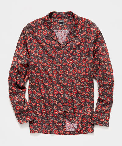 Liberty Camp Collar Long Sleeve Shirt in Brick Floral Print