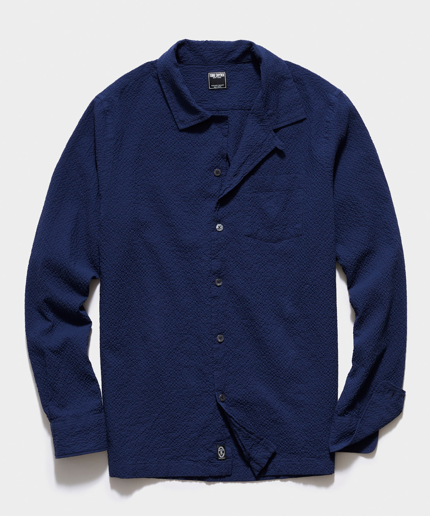 Portuguese Seersucker Camp Collar Long Sleeve Shirt in Navy
