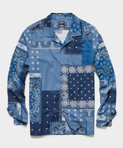 Italian Long Sleeve Camp Collar Shirt in Bandana Patchwork Print