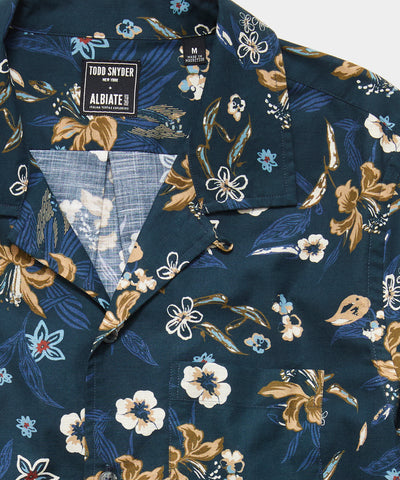 Italian Floral Camp Collar Long Sleeve Shirt in Navy