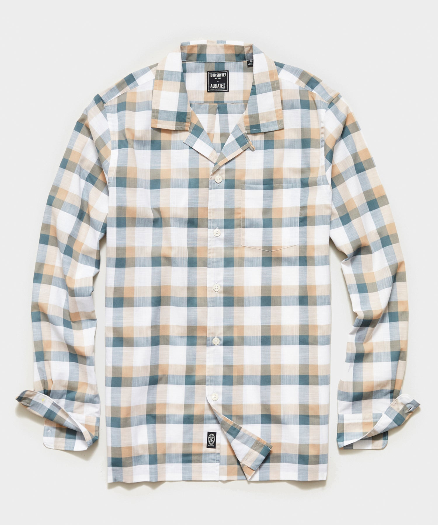 Italian Check Camp Collar Long Sleeve Shirt in Cream