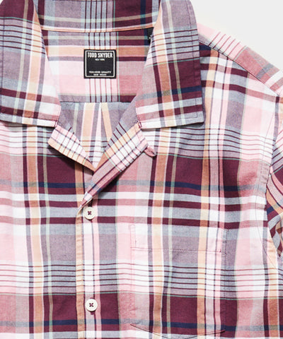Portuguese Washed Flannel Camp Collar Shirt in Maroon