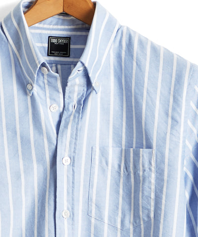 Bold Stripe Oxford Shirt in Light Blue
