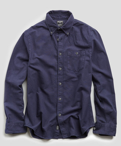 Stretch Garment Dyed Oxford in Navy
