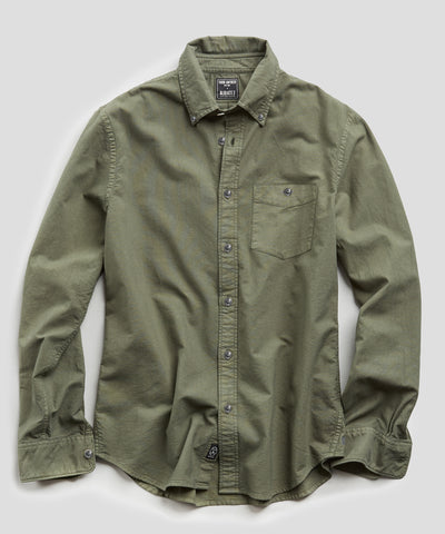 Stretch Garment Dyed Oxford in Olive