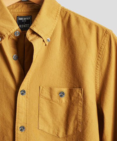 Stretch Garment Dyed Oxford in Mustard
