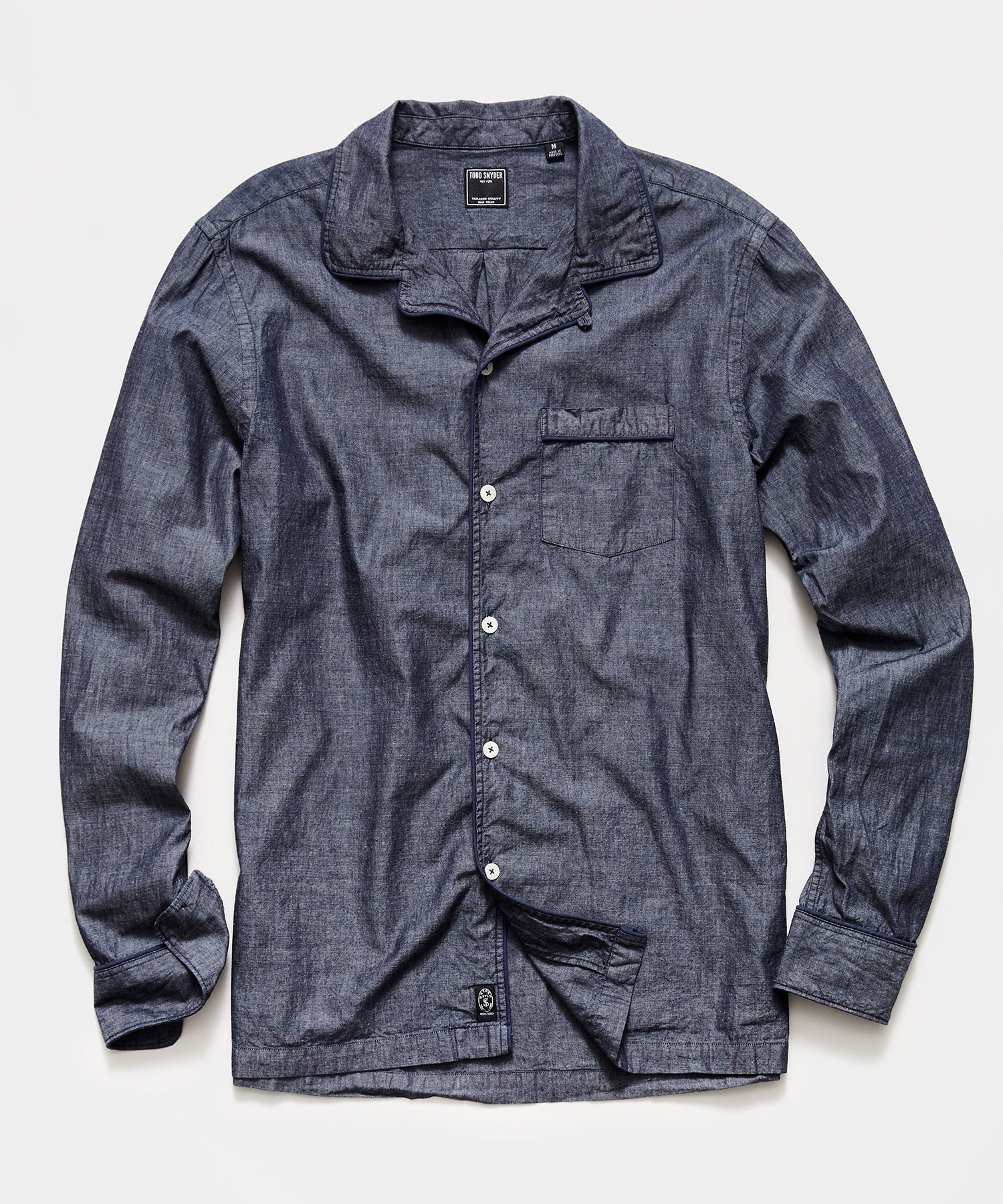 Tipped Navy Chambray Camp Collar Shirt in Indigo
