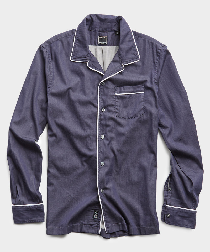 Long Sleeve Camp Collar Tipped Shirt in Navy