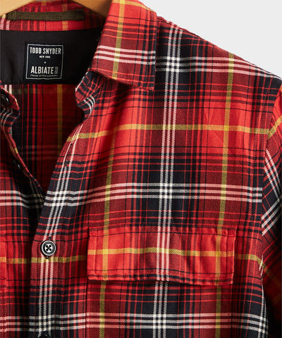 Vintage Plaid Shirt Jacket in Red