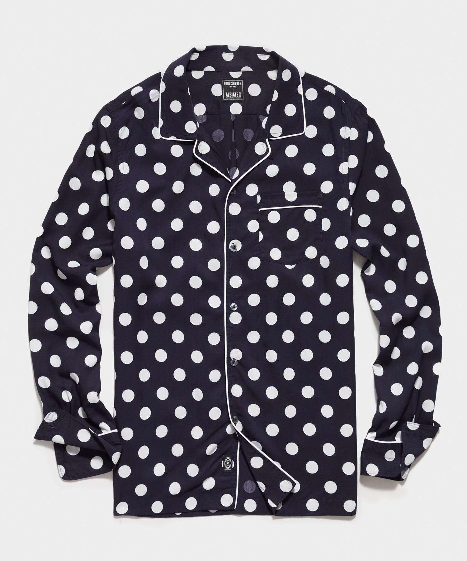 Italian Tencel Camp Collar Long Sleeve Shirt in Navy Polka Dot