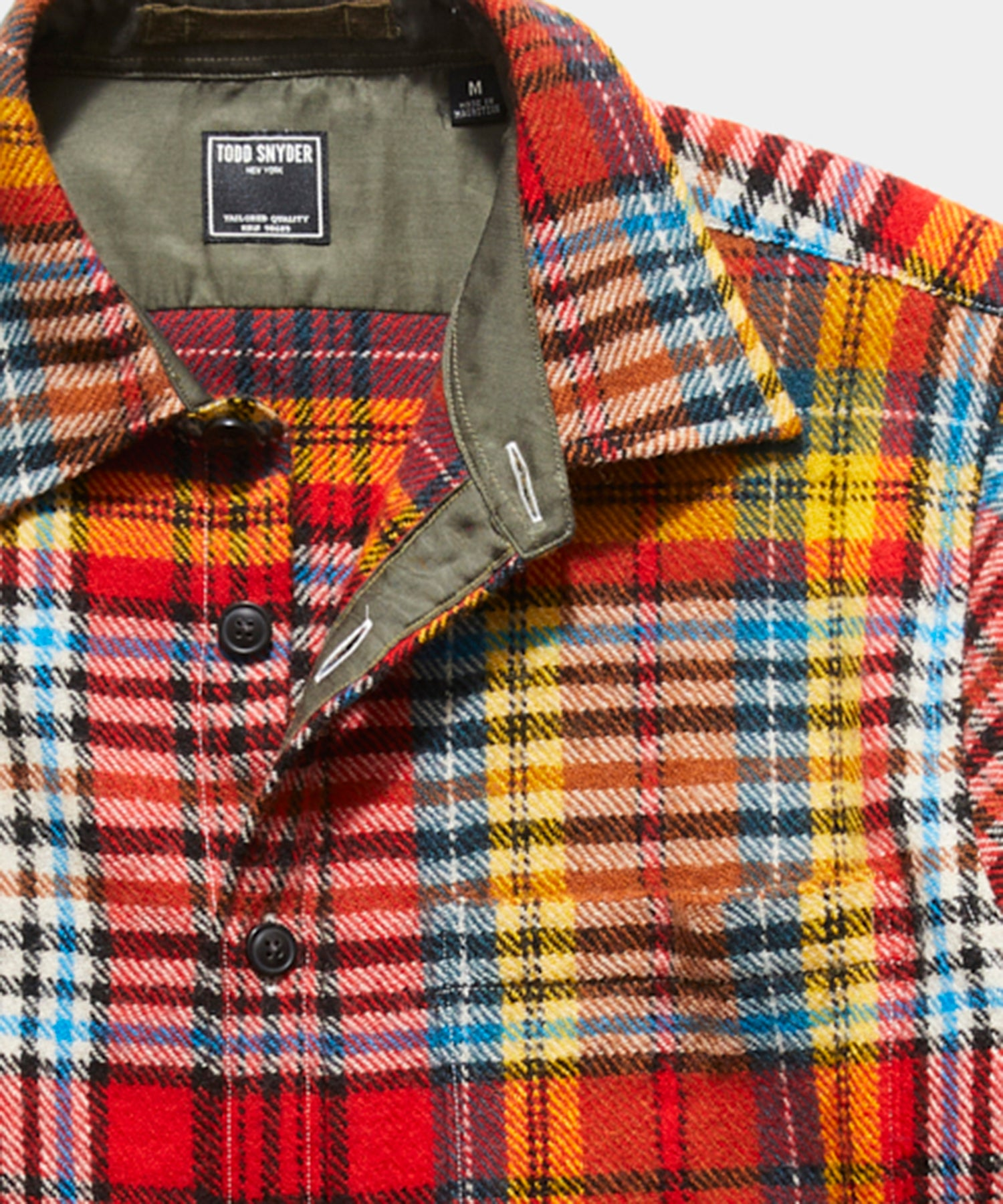 Italian Suede Elbow Patch Shirt Jacket in Red Plaid