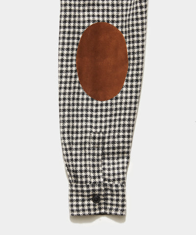 Italian Suede Elbow Patch Shirt Jacket in Houndstooth