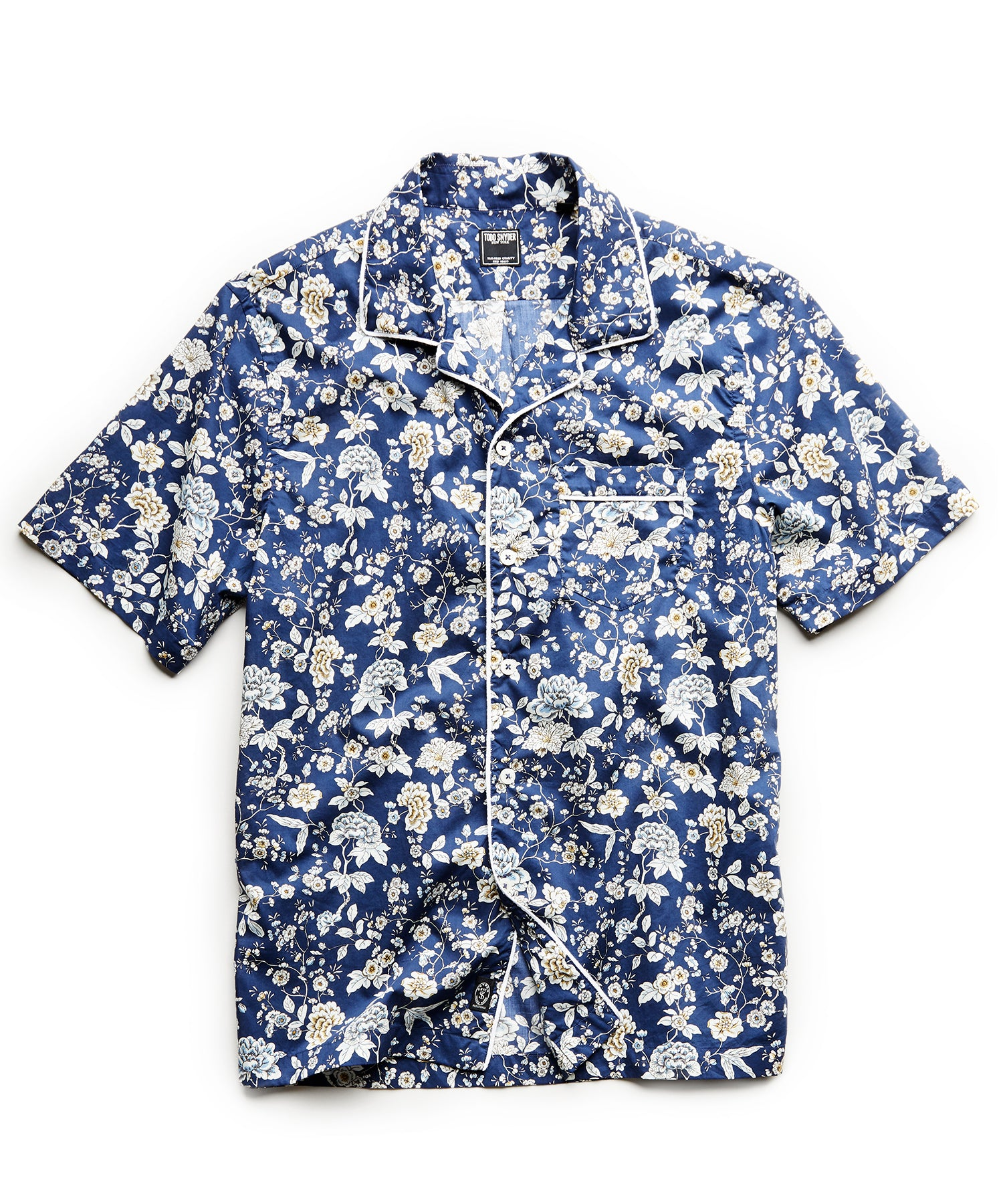 Piped Liberty Camp Collar Floral Print in Blue