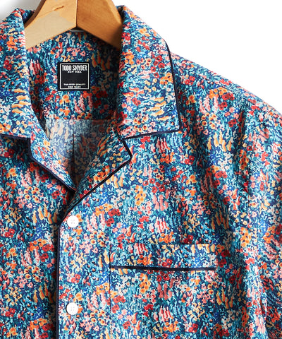 Piped Liberty Camp Collar in Dotted Print in Blue