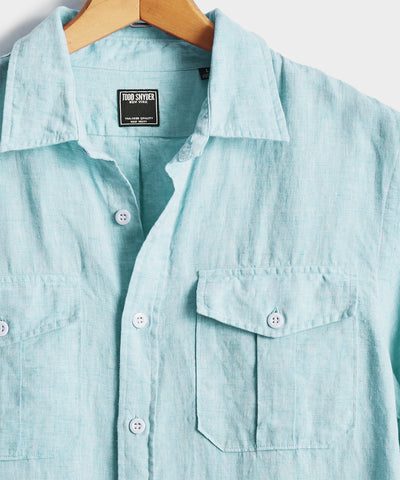 Italian Two Pocket Linen Utility Long Sleeve Shirt in Teal