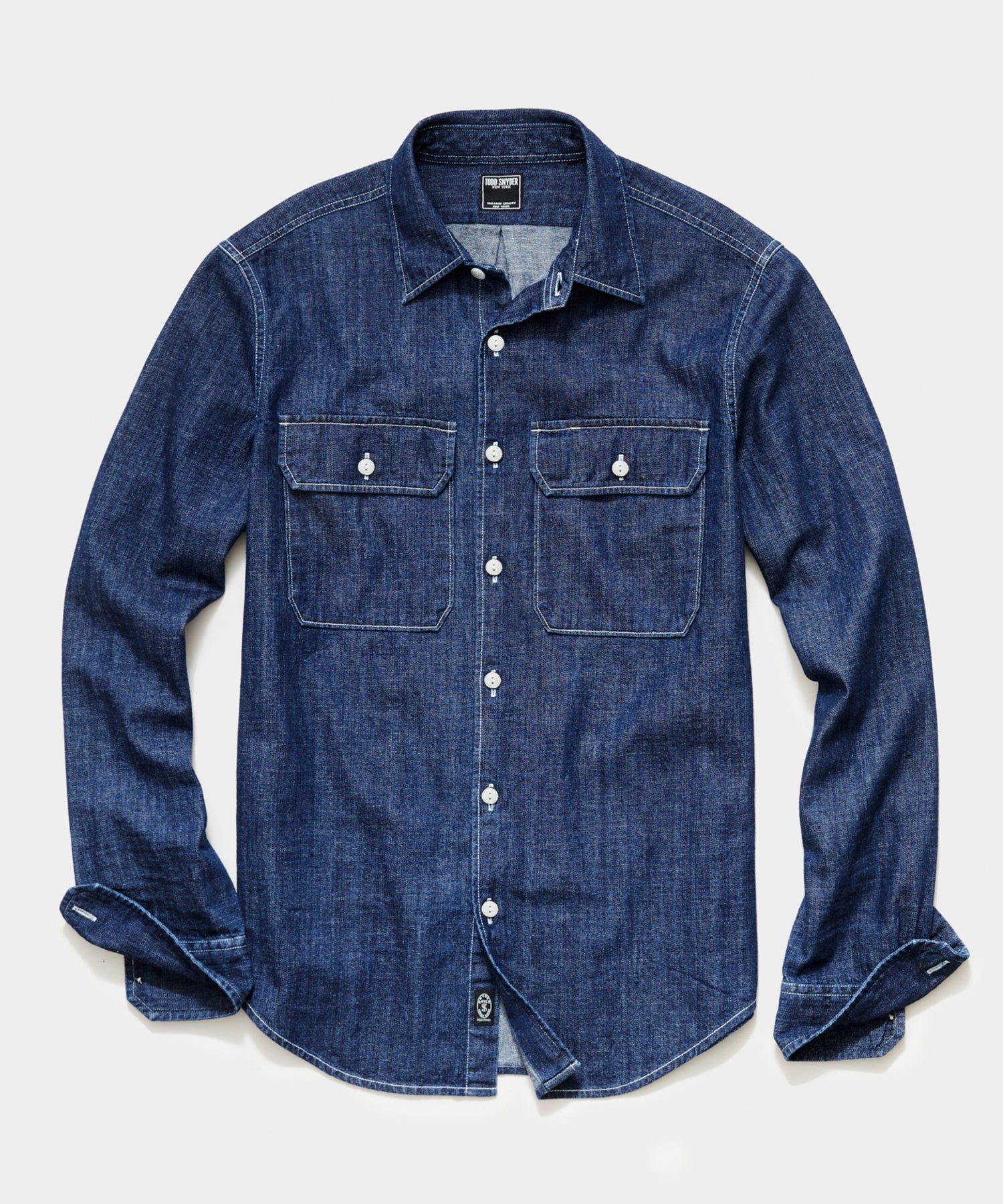 Italian Two Pocket Utility Long Sleeve Shirt in Denim