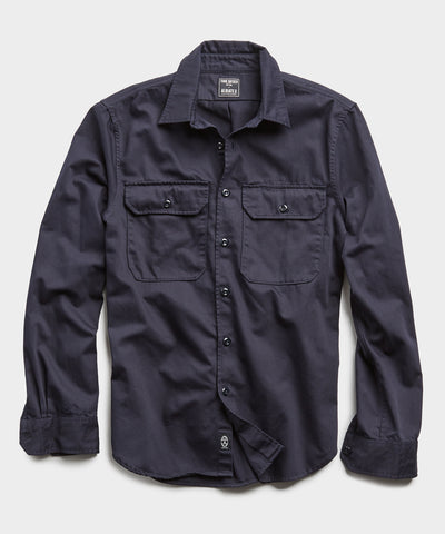Italian Two Pocket Utility Long Sleeve Shirt in Navy