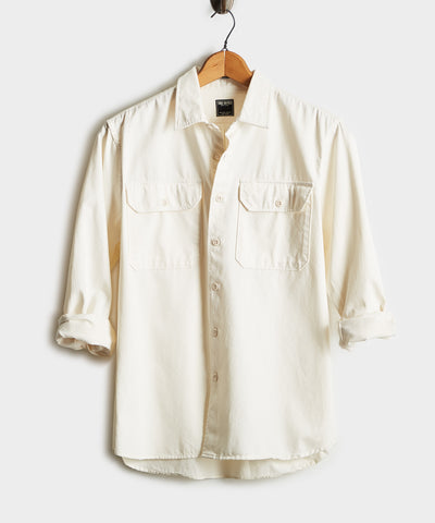 Italian Two Pocket Utility Long Sleeve Shirt in Ivory