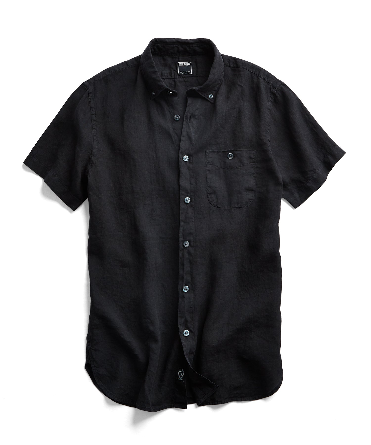 Short Sleeve Linen Button Down Shirt in Black
