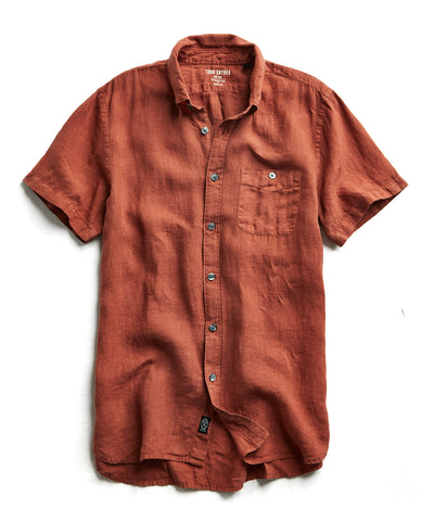 Short Sleeve Linen Button Down Shirt in Rust
