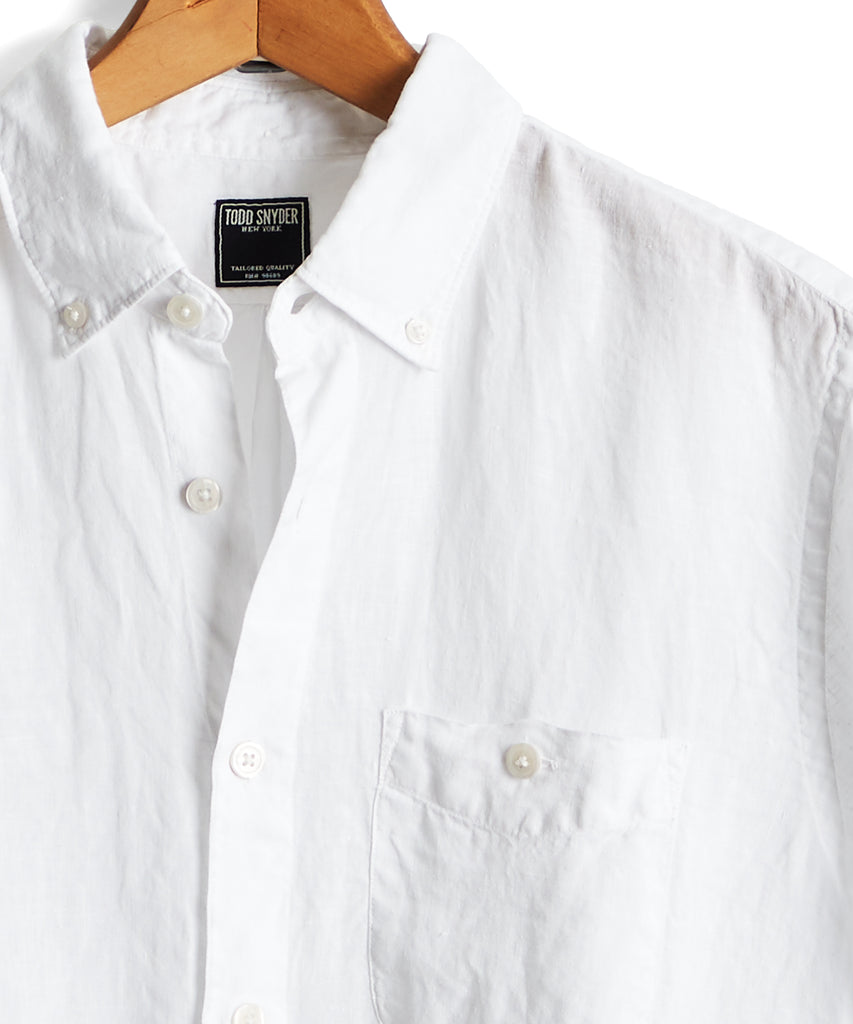 Short Sleeve Linen Button Down Shirt in White