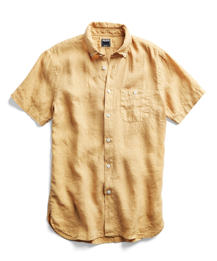 Short Sleeve Linen Button Down Shirt in Yellow