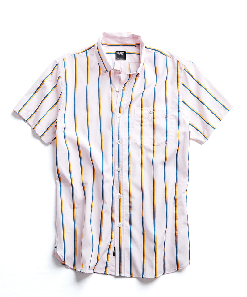 Short Sleeve Shirt in Pink/Yellow Vertical Stripe