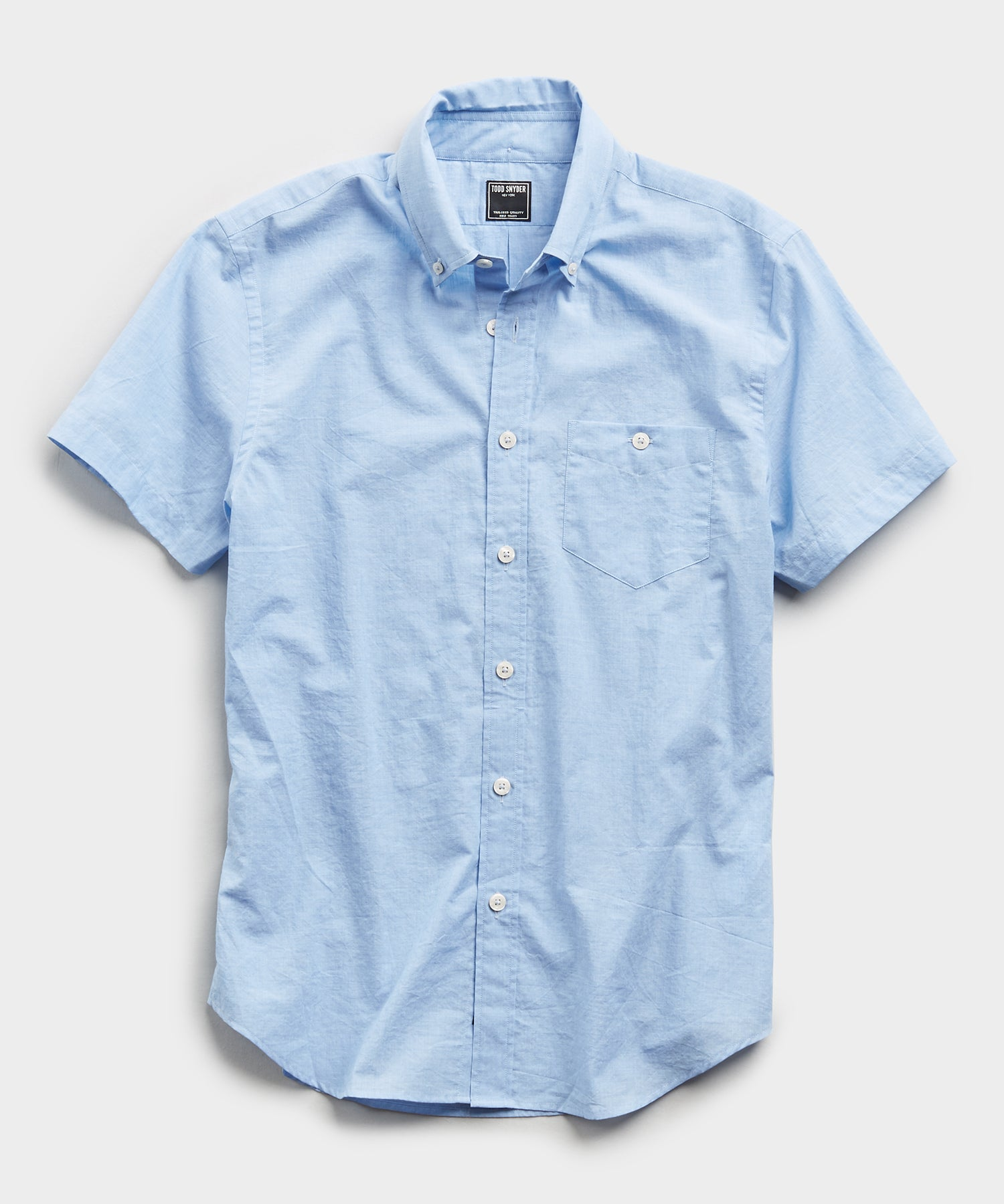 Saint Tropez Button Collar Short Sleeve Shirt in Light Blue